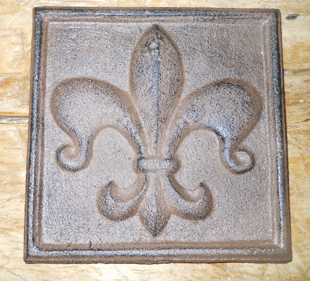 cast iron fleur de lis plaque finial garden sign home wall. Black Bedroom Furniture Sets. Home Design Ideas