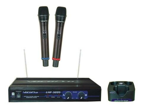 vocopro uhf 3205 uhf dual channel wireless rechargeable microphone system 692868832055 ebay. Black Bedroom Furniture Sets. Home Design Ideas