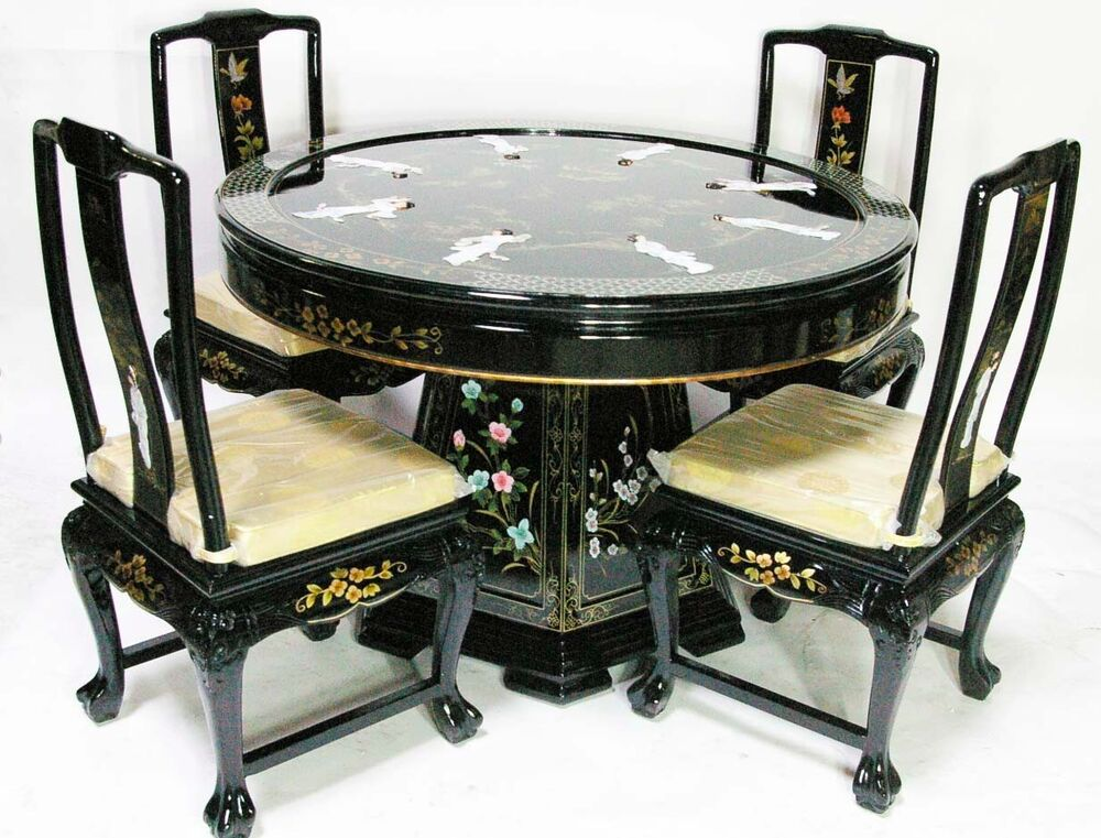 oriental dining room set dinettes furniture black lacquer traditional chinese interior design chinese dining room