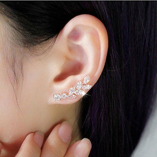 earrings that go up the earlobe sweep up cz ear vine wrap pin ear cuffs climbers 8313