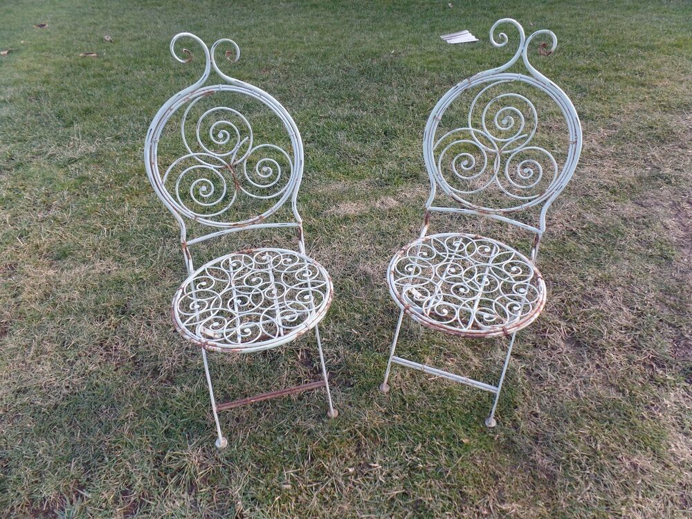 Pair Unusual Metal Folding Ornate Garden Chairs Chair