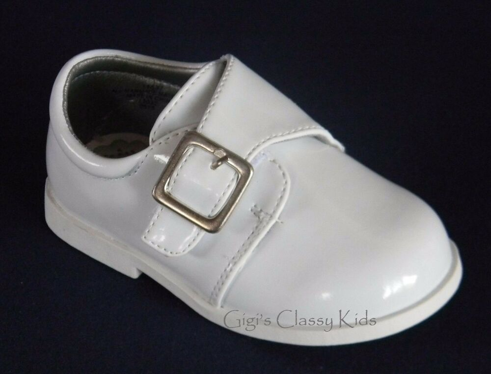 new baby infant toddler boys white dress shoes baptism