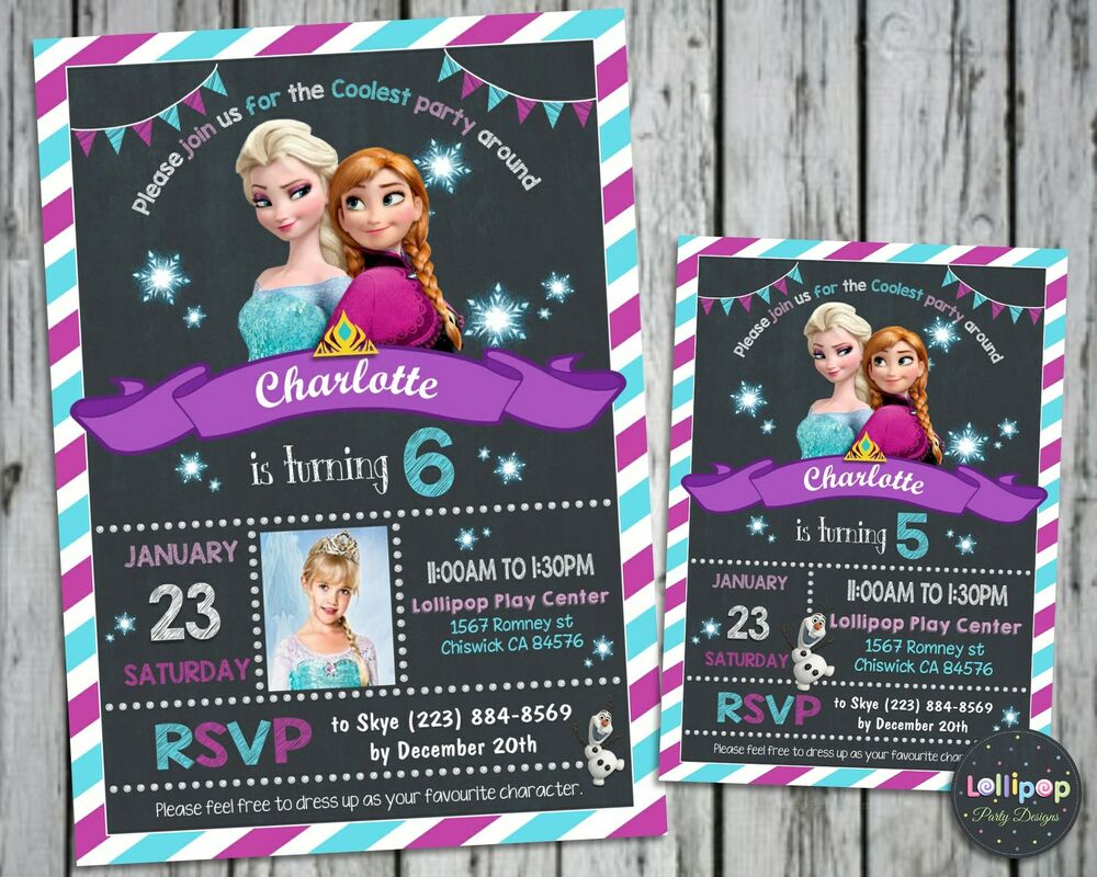 Details About FROZEN BIRTHDAY INVITATIONS CARDS ELSA ANNA PARTY PHOTO INVITES SNOW QUEEN