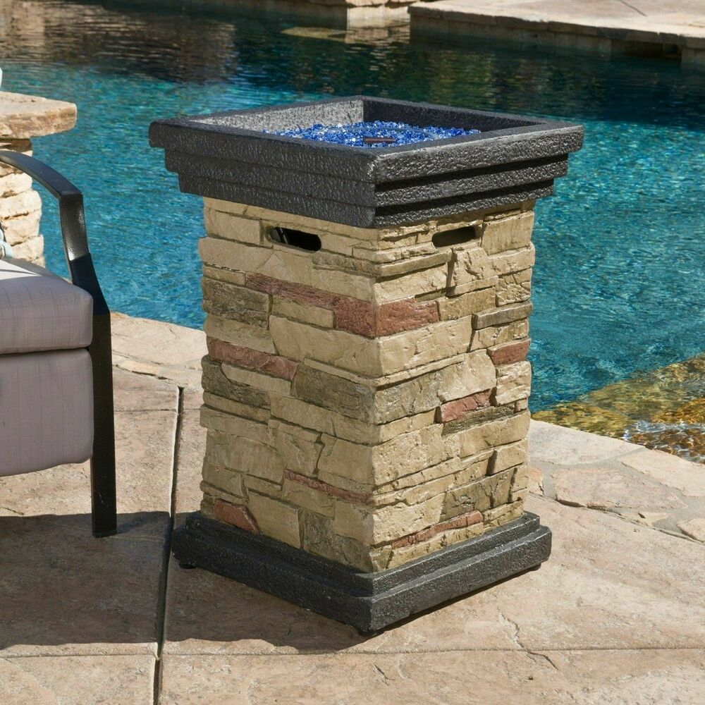Outdoor Natural Stone 19 Quot Liquid Propane Fire Column Ebay