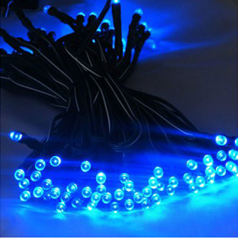 Blue String Lights Outdoor Example - pixelmari.com