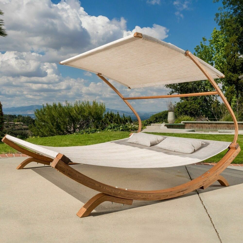 Outdoor patio lounge daybed hammock w adjustable shade for Garden pool loungers