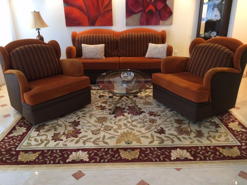 MODERN ART DECO SOFA COUCH & TWO CHAIRS SET LIVING ROOM