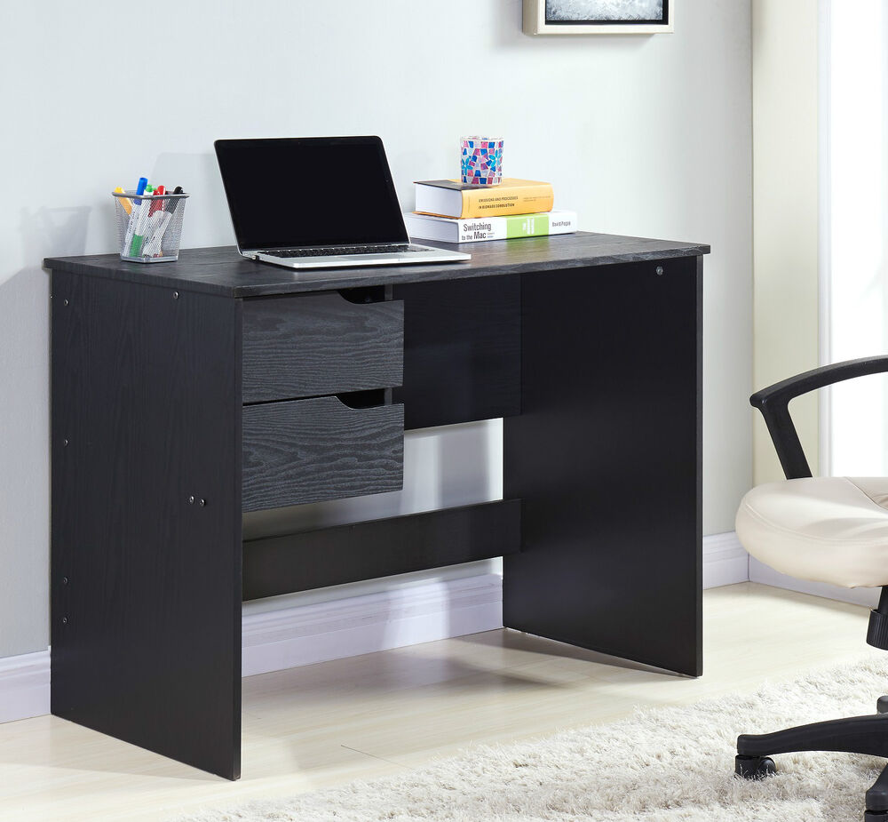 or black wooden wood computer pc laptop desk home office furniture