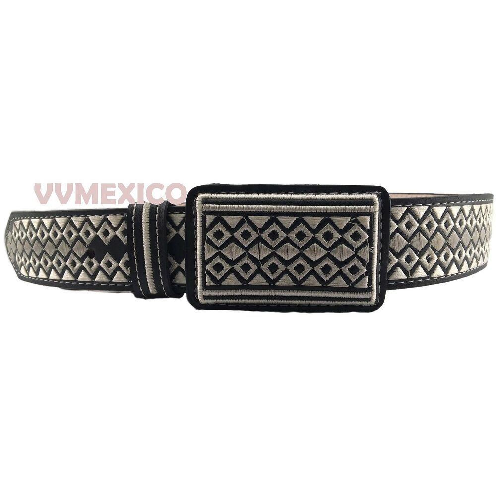 Mens mexican embroidered western piteado grabado belt