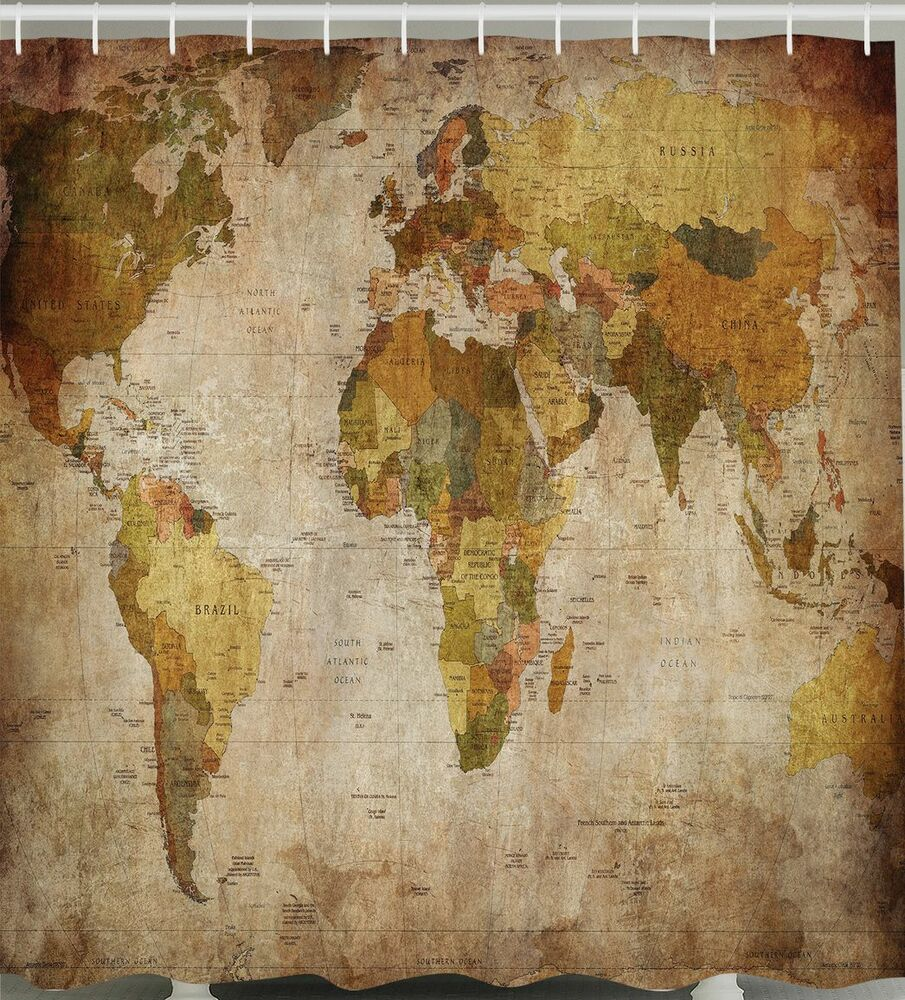 World Map Shower Curtain Fabric Rustic Primitive Antique