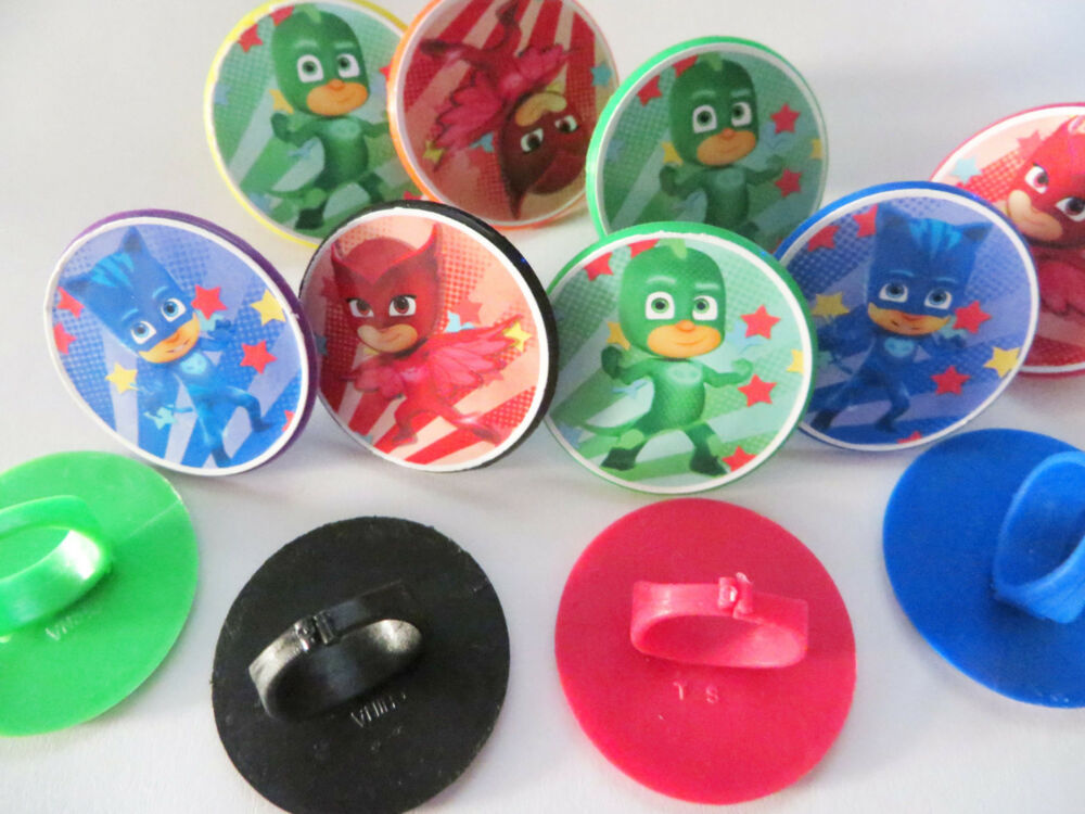 Party Favor Toys : Pj masks rings cupcake toppers birthday party favor