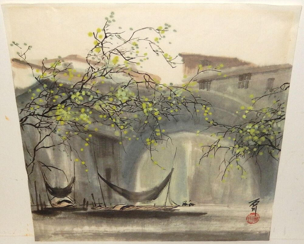 Japanese village fishing boats landscape original for Japanese watercolor paintings
