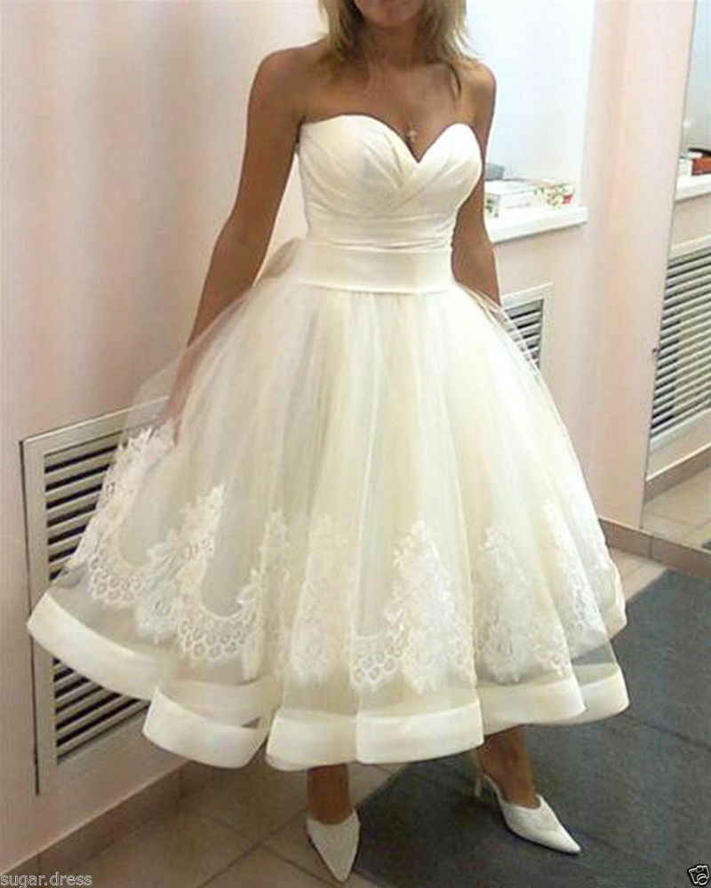 Hot short white ivory lace wedding dress bridal gown for Ebay wedding dresses size 12