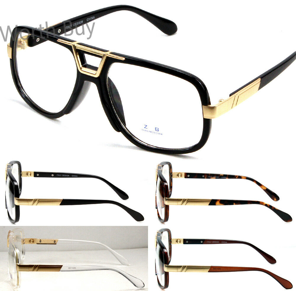 Square Framed Fashion Glasses : New Mens Womens DMC Square Gazelle Style Gold Clear Lens ...