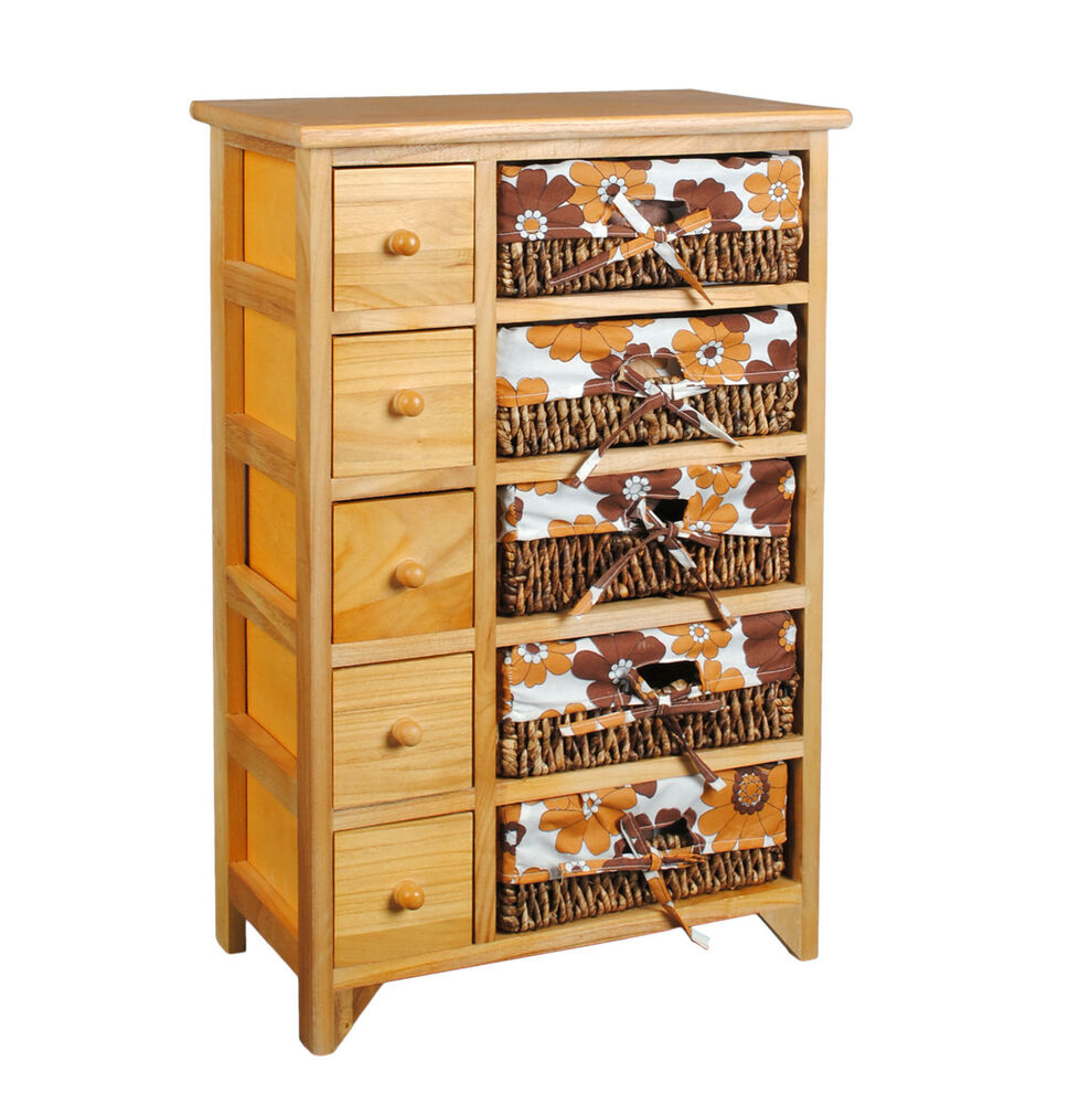retro 70er jahre kommode schrank 72 cm regal braun mit orange blumenmuster neu ebay. Black Bedroom Furniture Sets. Home Design Ideas