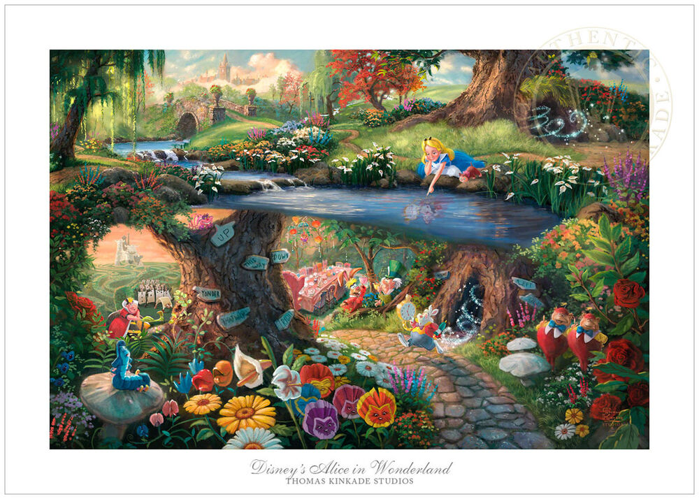 thomas kinkade alice in wonderland 12 x 18 s n limited edition paper disney ebay. Black Bedroom Furniture Sets. Home Design Ideas
