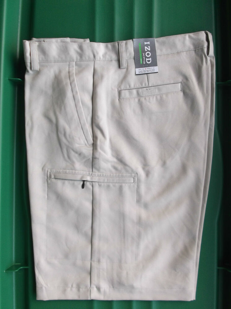 NWT Men's Izod XFG Cargo Golf Shorts Sand 36 | eBay