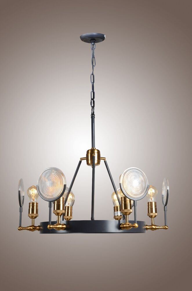 new 6 light industrial restoration hardware gaslight lens chandelier ebay. Black Bedroom Furniture Sets. Home Design Ideas