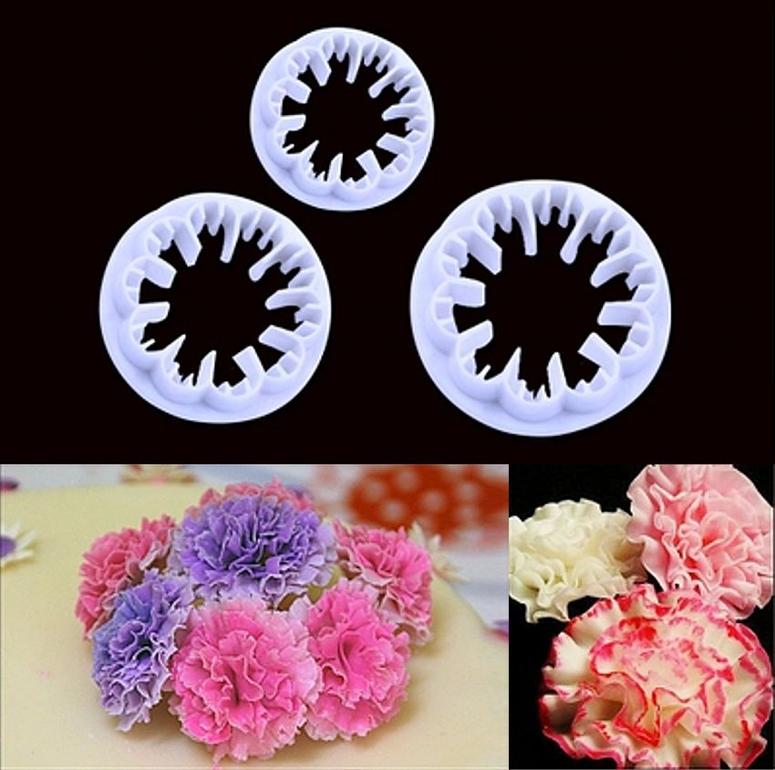 3pcs Carnation Flower Cake Fondant Sugarcraft Mold Cutter ...