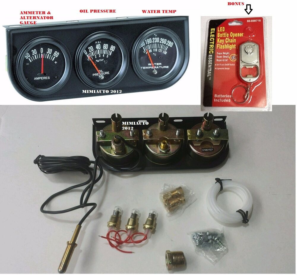 Auto Engine Gauges : Universal triple auto car engine gauge set water oil