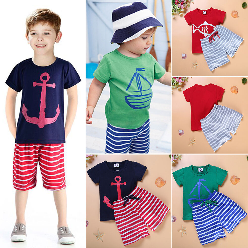 jungen sommer festlich strand t shirt tops kurze hosen shorts kinder anzug ebay. Black Bedroom Furniture Sets. Home Design Ideas
