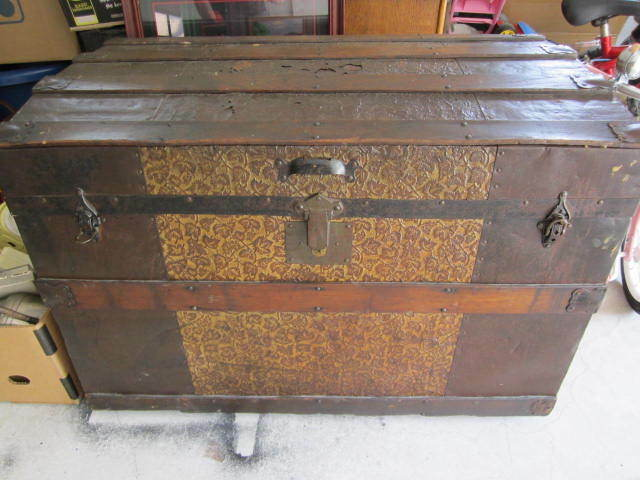 Antique vintage clinton wall trunk wooden chest wood metal