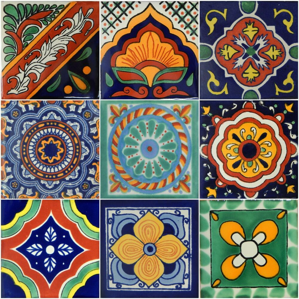 9 mexican talavera tiles ceramic tiles hand made 428 ebay. Black Bedroom Furniture Sets. Home Design Ideas
