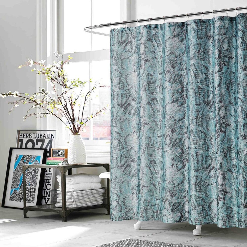 Teal And Charcoal Fabric Shower Curtain Snake Reptile Print 70 W X 72 L Ebay