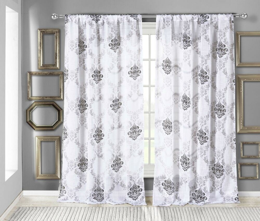 White Textured Sheer Window Curtain Panel: Black Medallion
