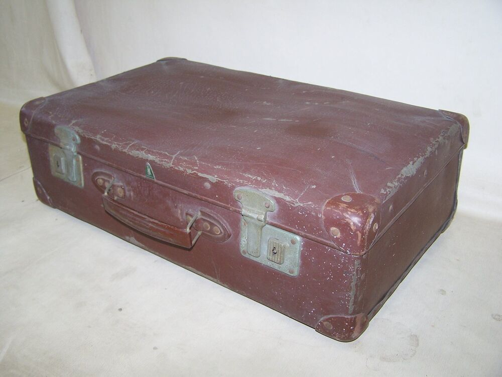 valise ancienne de voyage ann es 50 ann es hartplatte culte r tro design ebay. Black Bedroom Furniture Sets. Home Design Ideas
