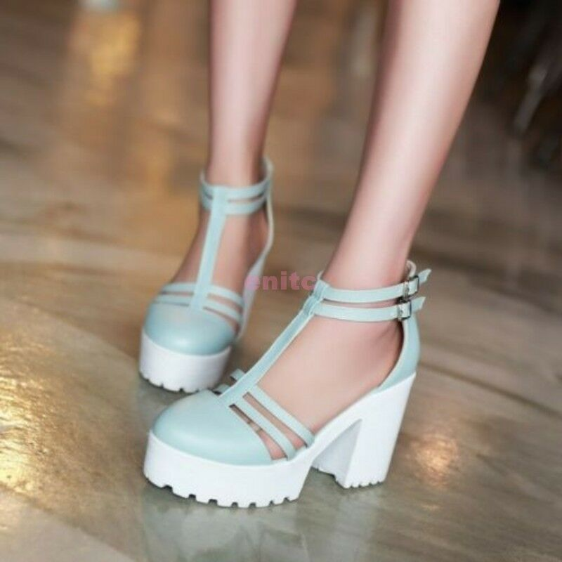 Gothic Women S Closed Toe Chunky Block High Heels Platform
