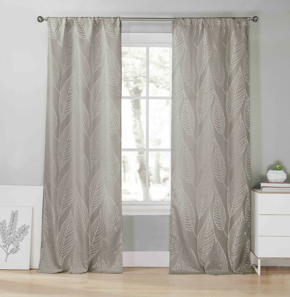 Two 2 gray window curtain panels metallic silver leaf for Window panel design