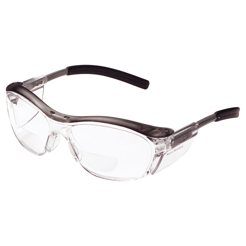 Gray Frame Reading Glasses : AOSafety Nuvo Reader Safety Glasses Clear Lens Gray Frame ...