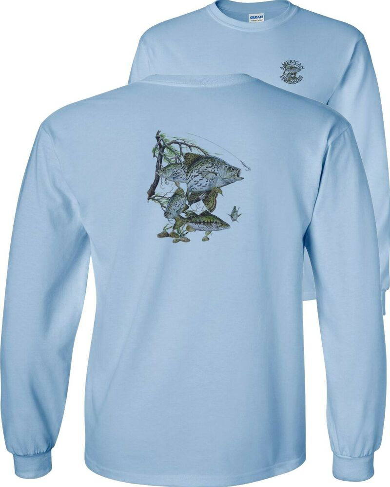 Crappie fish black white crappies freshwater fishing for Long sleeve fishing t shirts