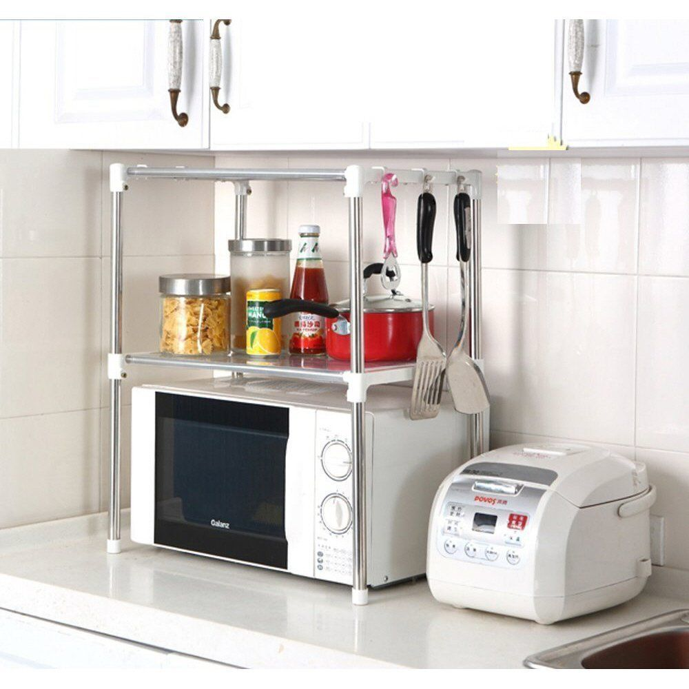 kitchen organisers storage multifunction microwave oven stainless steel shelf kitchen 2352