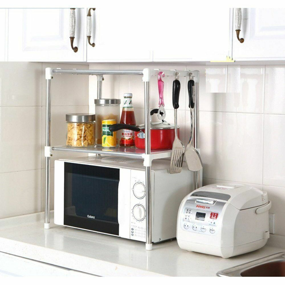 multifunction microwave oven stainless steel shelf kitchen storage rack uk ebay. Black Bedroom Furniture Sets. Home Design Ideas