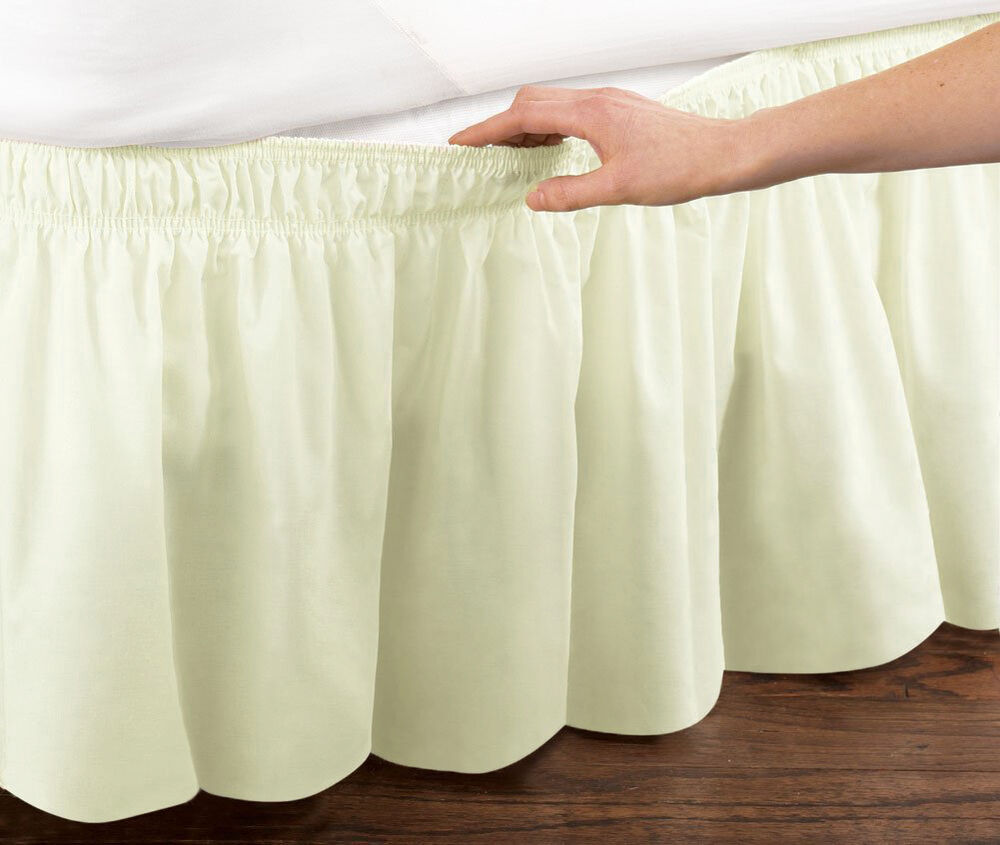 Ivory Elastic Ruffled Bed Skirt Wrap Around Easy Fit