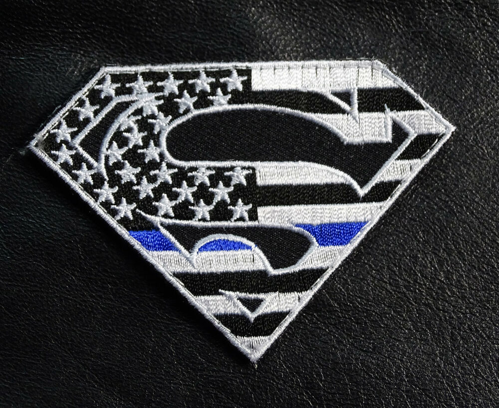 SUPERMAN USA FLAG THIN BLUE LINE POLICE TACTICAL COMBAT HOOK LOOP PATCH   eBay