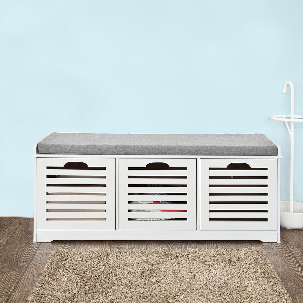 Sobuy storage bench with drawers shoe cabinet with seat cushion fsr23 uk ebay Shoe cabinet bench