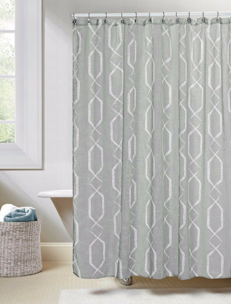 Gray Linen Textured Sheer Fabric Shower Curtain White Geo