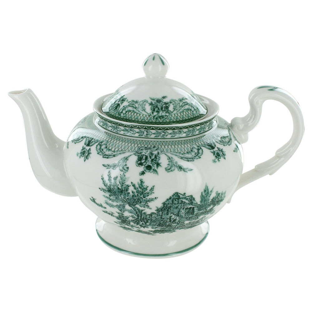Green toile porcelain 5 cup teapot ebay Green tea pot set
