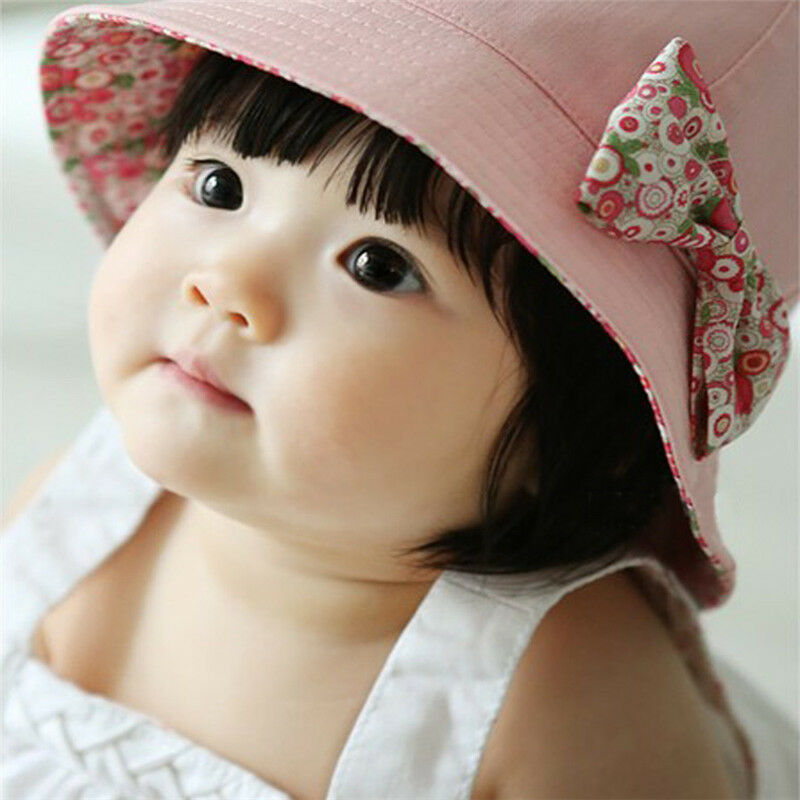 Cute Bow Flower Toddlers Baby Girls Summer Sun Hat Double