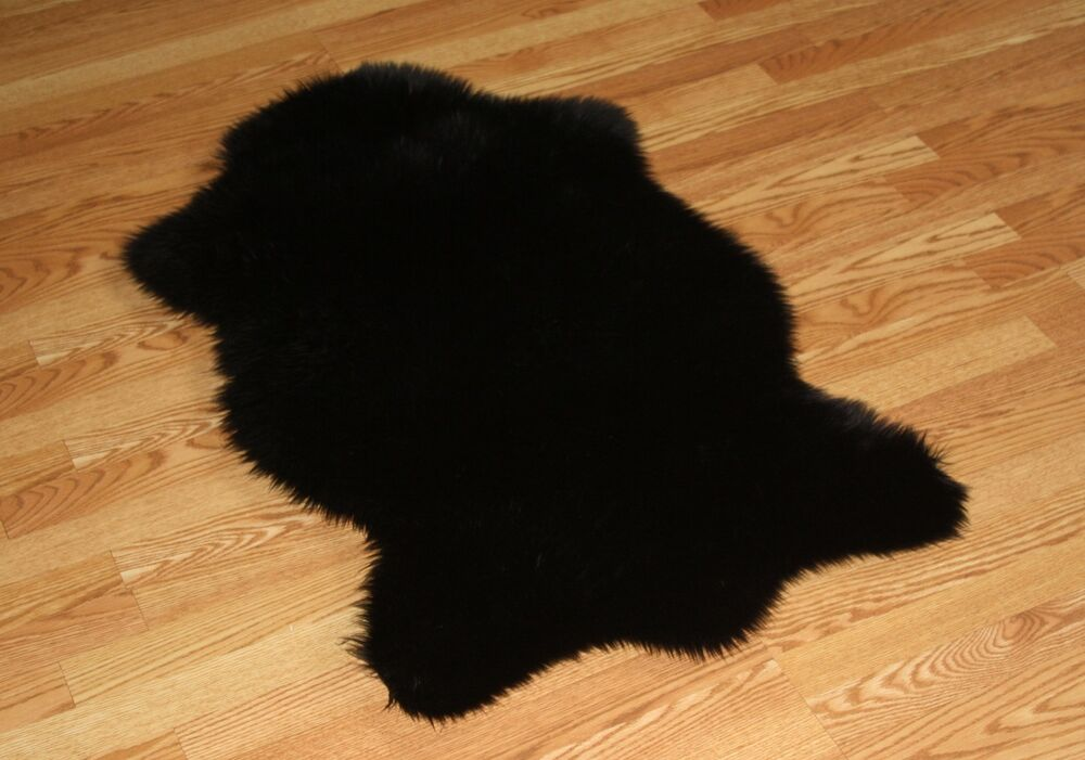 black faux fur rug animal shape black faux fur rug 4 3 x 6 3 washable 4669