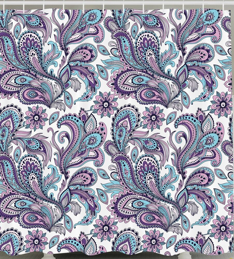 PAISLEY SHOWER CURTAIN Blue Purple Lilac Floral Print