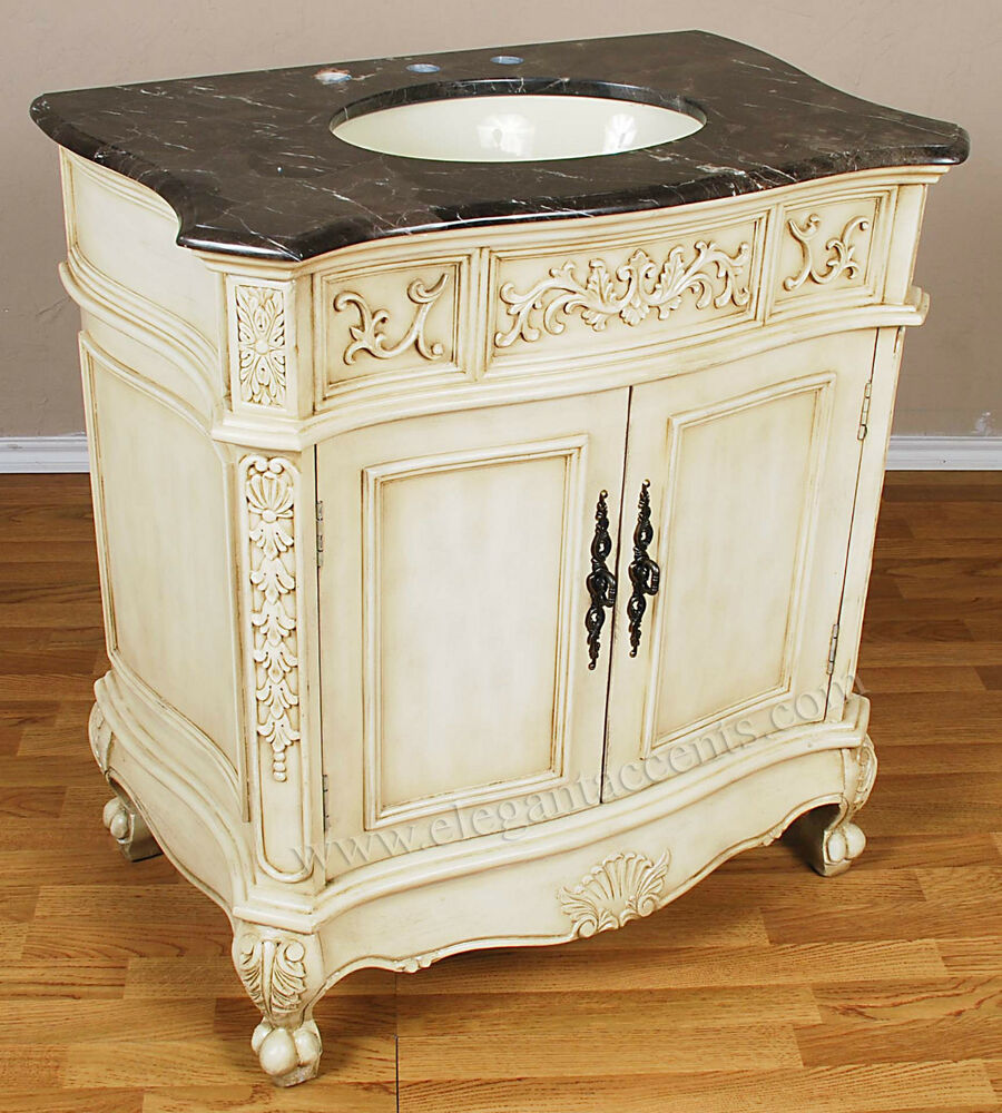 33 2 door antique white bathroom vanity sink cabinet ebay for White bathroom chest