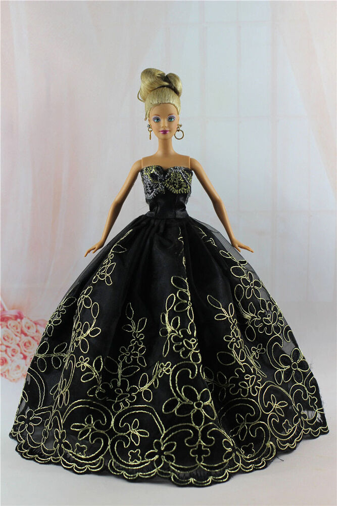 Fashion Royalty Black Princess Party Dress Gown For Barbie