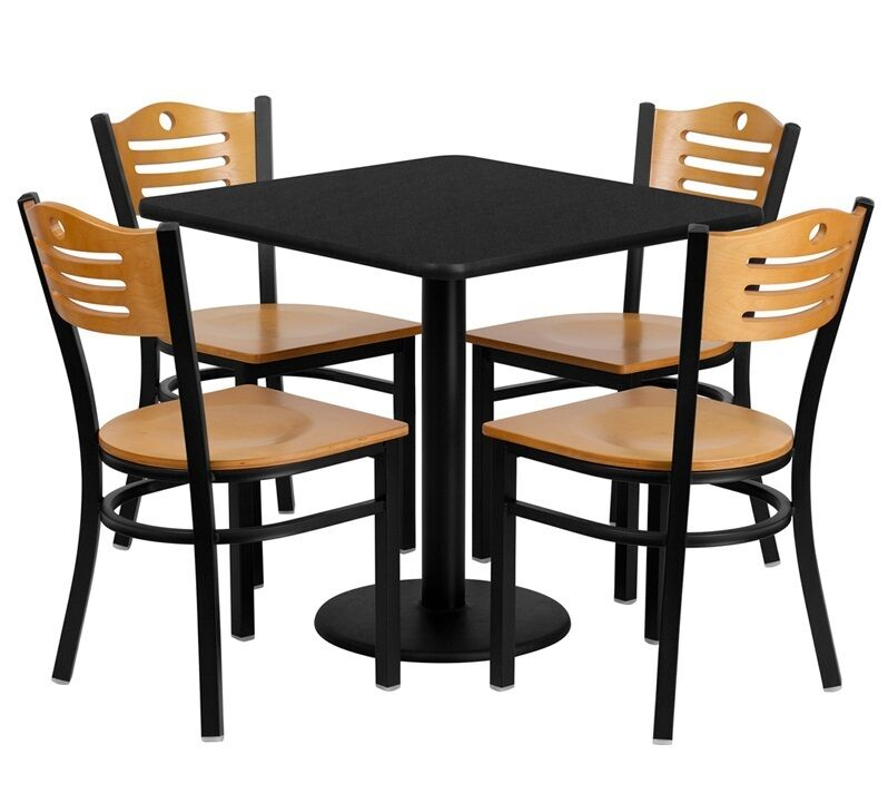 30 square restaurant cafe bar black table and wood chair for Table 85 cafe and catering