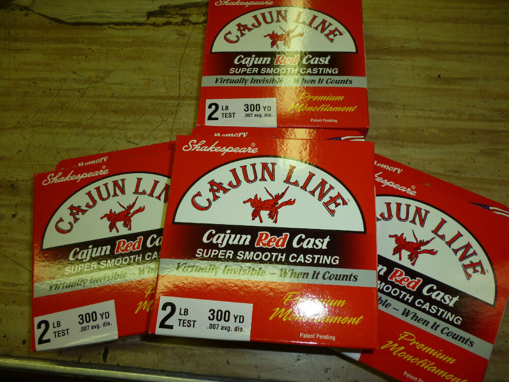 Cajun red monofilament fishing line 2 lbs test lot of 1200 for Red fishing line