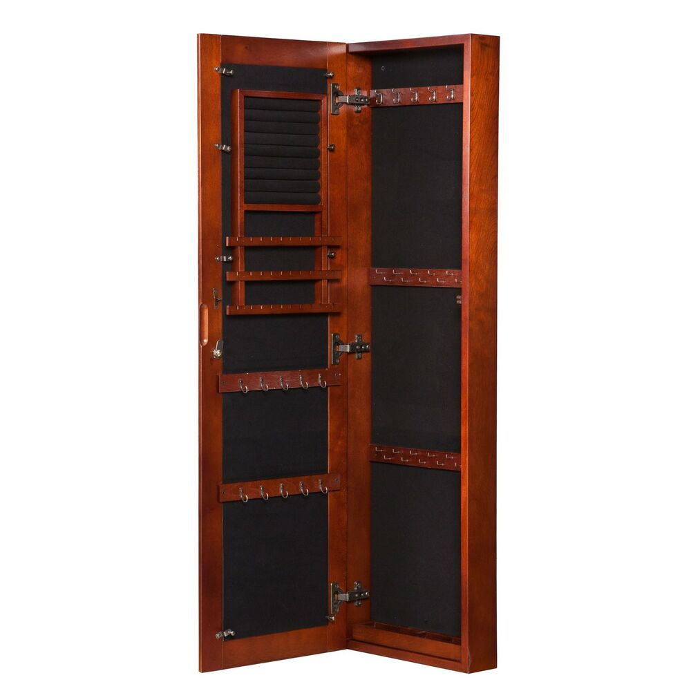Armoire jewelry storage cabinet bedroom furniture cherry for Bedroom wall cabinet with mirror