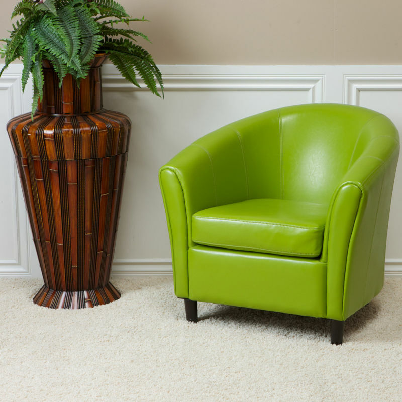 Contemporary tub barrel design lime green leather club for Modern leather club chair